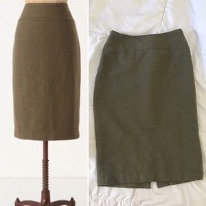 Textured Olive Pencil Skirt